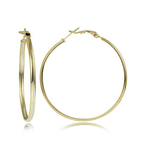 14K Yellow Gold Over Sterling Silver 50mm Flex Hoop Earrings