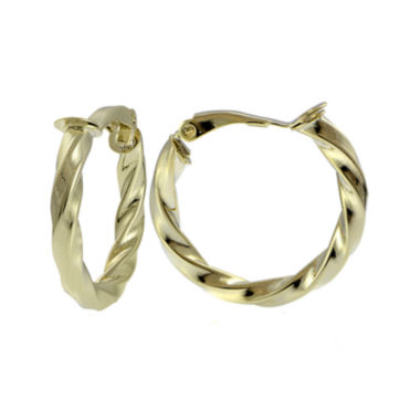 jcpenney.com | 14K Yellow Gold Over Sterling Silver 25mm Twisted Hoop Clip-On Earrings