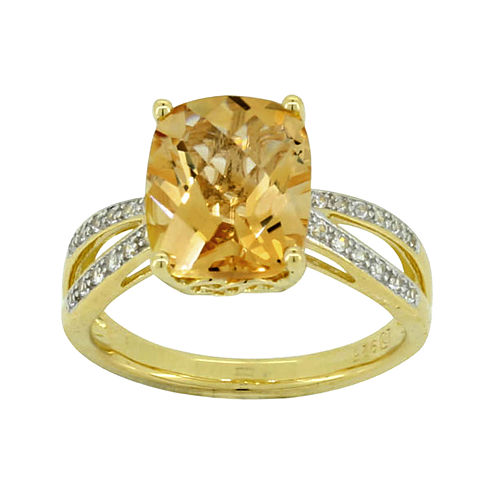 Heat-treated Cushion-Cut Citrine & Lab-Created White Sapphire Ring