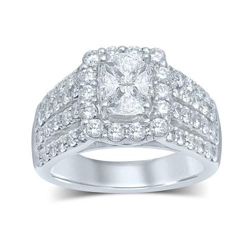3 CT. T.W. Fancy-Cut Diamond 14K White Gold Ring