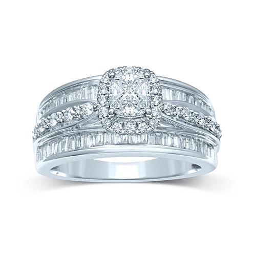 1 CT. T.W. Fancy-Cut Diamond 14K White Gold Ring