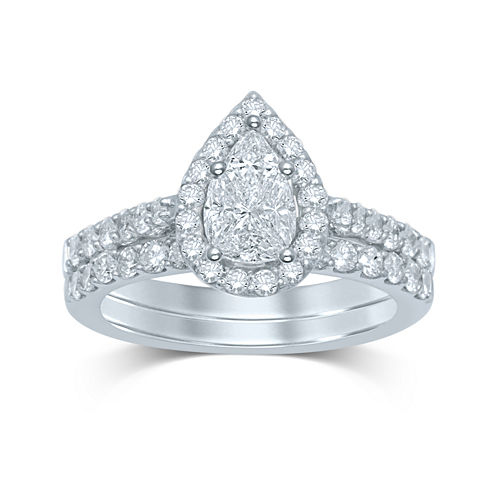 1½ CT. T.W. Fancy-Cut Diamond Pear-Shaped 14K White Gold Bridal Ring Set