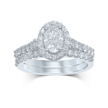 jcpenney.com | 1½ CT. T.W. Fancy-Cut Diamond Oval-Shaped 14K White Gold Bridal Ring Set