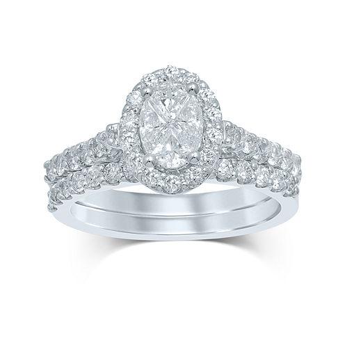 1½ CT. T.W. Fancy-Cut Diamond Oval-Shaped 14K White Gold Bridal Ring Set