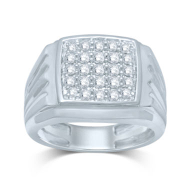 jcpenney.com | Mens 1/2 CT. T.W. Diamond 10K White Gold Square Top Ring