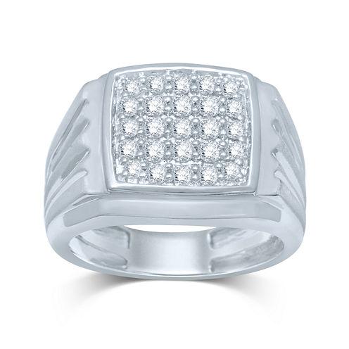 Mens 1/2 CT. T.W. Diamond 10K White Gold Square Top Ring