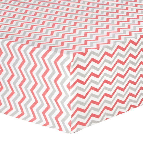 Trend Lab® Coral & Gray Chevron Fitted Flannel Crib Sheet