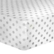 Trend Lab® Gray Polka Dot Fitted Flannel Crib Sheet