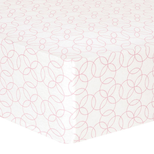 Trend Lab® Pink Circles Fitted Flannel Crib Sheet