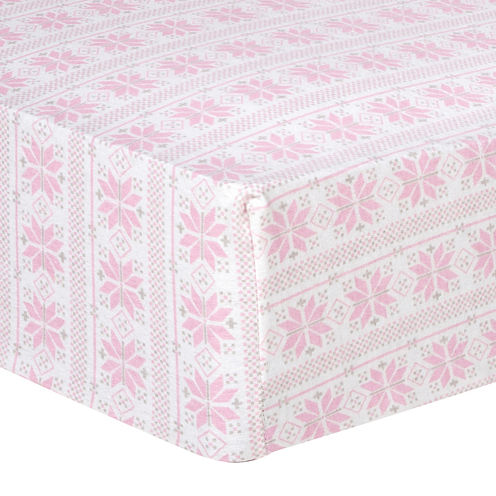 Trend Lab® Pink Fair Isle Fitted Flannel Crib Sheet