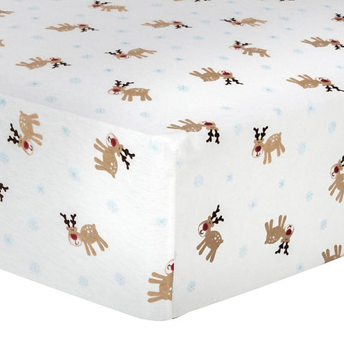 Trend Lab® Reindeer-Print Fitted Flannel Crib Sheet