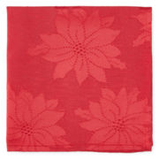 Bardwil Holiday Poinsettia Damask Set of 4 Napkins