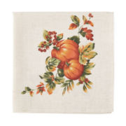 Bardwil Set of 4 Harvest Pumpkin Border Napkins