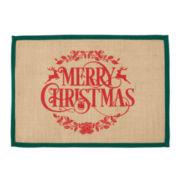 Merry Christmas Set of 4 Burlap Placemats