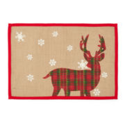 Reindeer and Snowflakes Set of 4 Burlap Placemats