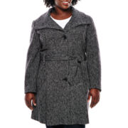 Worthington® Funnel-Neck Wool-Blend Coat - Plus