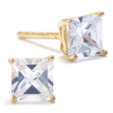 jcpenney.com | Silver Treasures White Cubic Zirconia Gold Over Silver Stud Earrings