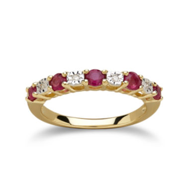 jcpenney.com | Glass Filled Ruby Diamond-Accent 10K Yellow Gold Ring