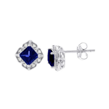 jcpenney.com | Diamond Accent Princess Blue Sapphire 14K Gold Stud Earrings