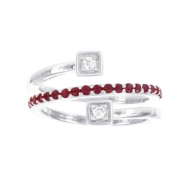 jcpenney.com | Sterling Sliver 1/10CTTW Diamond and Lab Created Ruby Spiral Ring