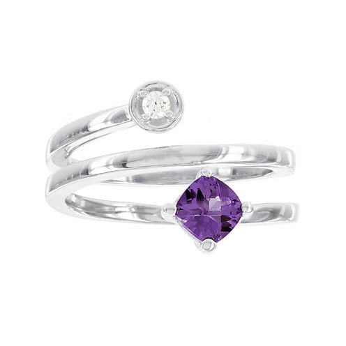 Sterling SilveR  Diamond ACCENT and Genuine Amethyst  Spiral Ring