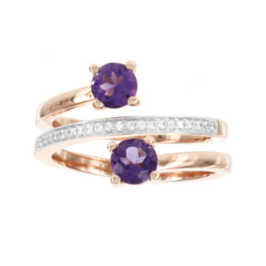 jcpenney.com | Rose Gold Over Silver 1/10cttw Diamond And Genuine Amethyst Spiral Ring