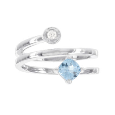 jcpenney.com | Sterling Silver Diamond ACCENT and Genuine  Blue Topaz Spiral Ring