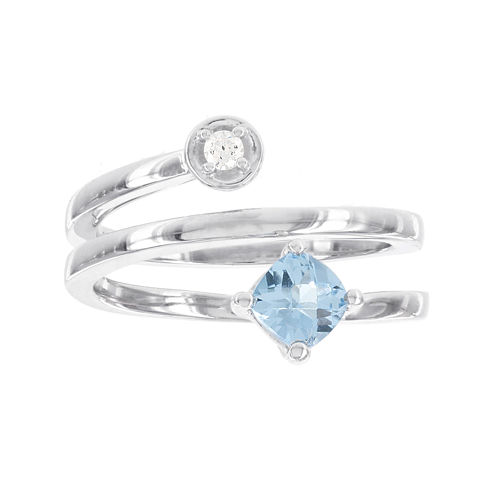Sterling Silver Diamond ACCENT and Genuine  Blue Topaz Spiral Ring