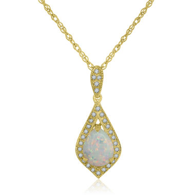 jcpenney.com | Womens Multi Color Opal Gold Over Silver Pendant Necklace