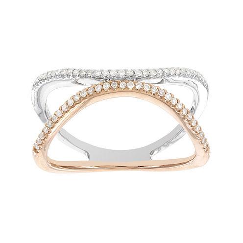 Womens 1/5 CT. T.W. White Diamond 14K Gold Cocktail Ring