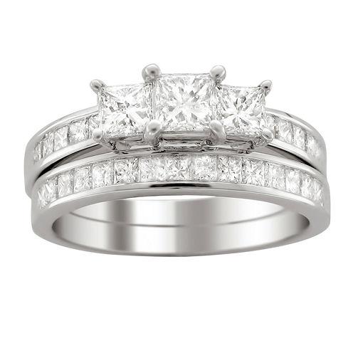 Womens 2 CT. T.W. White Diamond Platinum Bridal Set