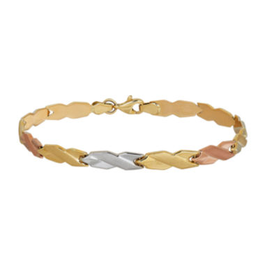 jcpenney.com | 10K Tri-Color Gold 4.83mm Hollow Stampato Link Bracelet