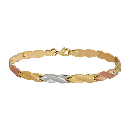 10K Tri-Color Gold 4.83mm Hollow Stampato Link Bracelet