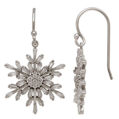jcpenney.com | Sterling Silver Cubic Zirconia Baguette Snowflake Earrings