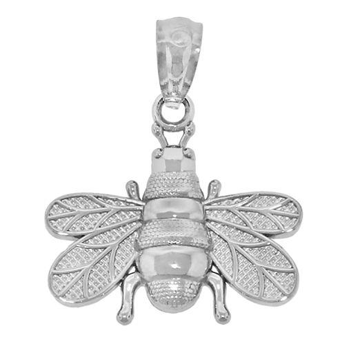 Sterling Silver Diamond-Cut Bumble Bee Charm Pendant