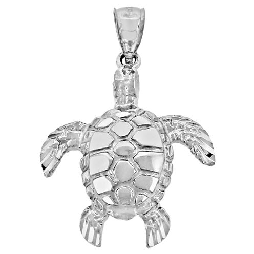 Sterling Silver Diamond-Cut Turtle Charm Pendant