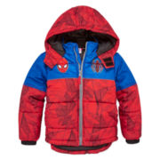 Boys Spiderman Heavyweight Puffer Jacket-Preschool
