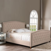 Baxton Studio Jessie Modern Upholstered Nail-Head Trim Bed