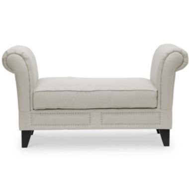 jcpenney.com | Baxton Studio Marsha Linen Modern Scroll Arm Bench