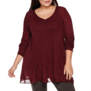 a.n.a® Long-Sleeve Swingy Woven-Trim Top - Plus