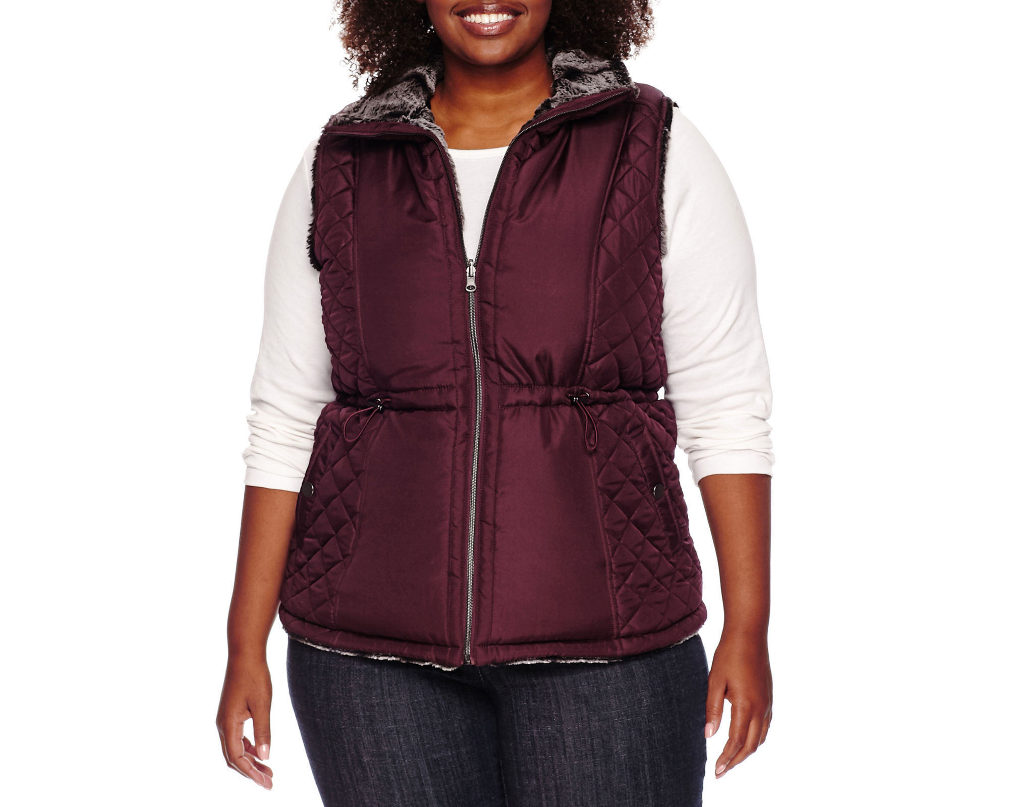 KC Collections Faux Fur Reversible Quilted Vest - Plus