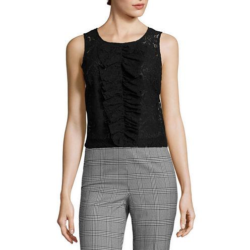 Worthington® Sleeveless Lace Ruffled Blouse - Tall