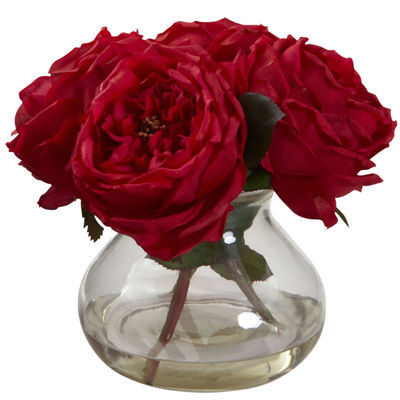 Nearly Natural Fancy Rose With Vase Jcpenney