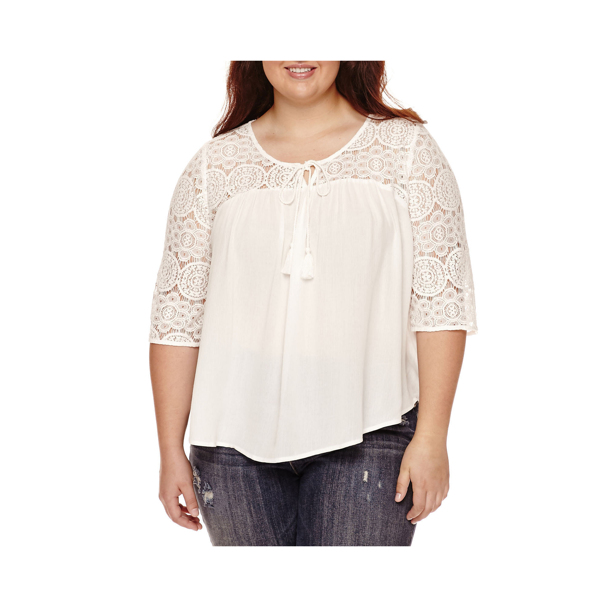 Arizona 3/4-Sleeve Crochet Swing Top - Juniors Plus plus size,  plus size fashion plus size appare