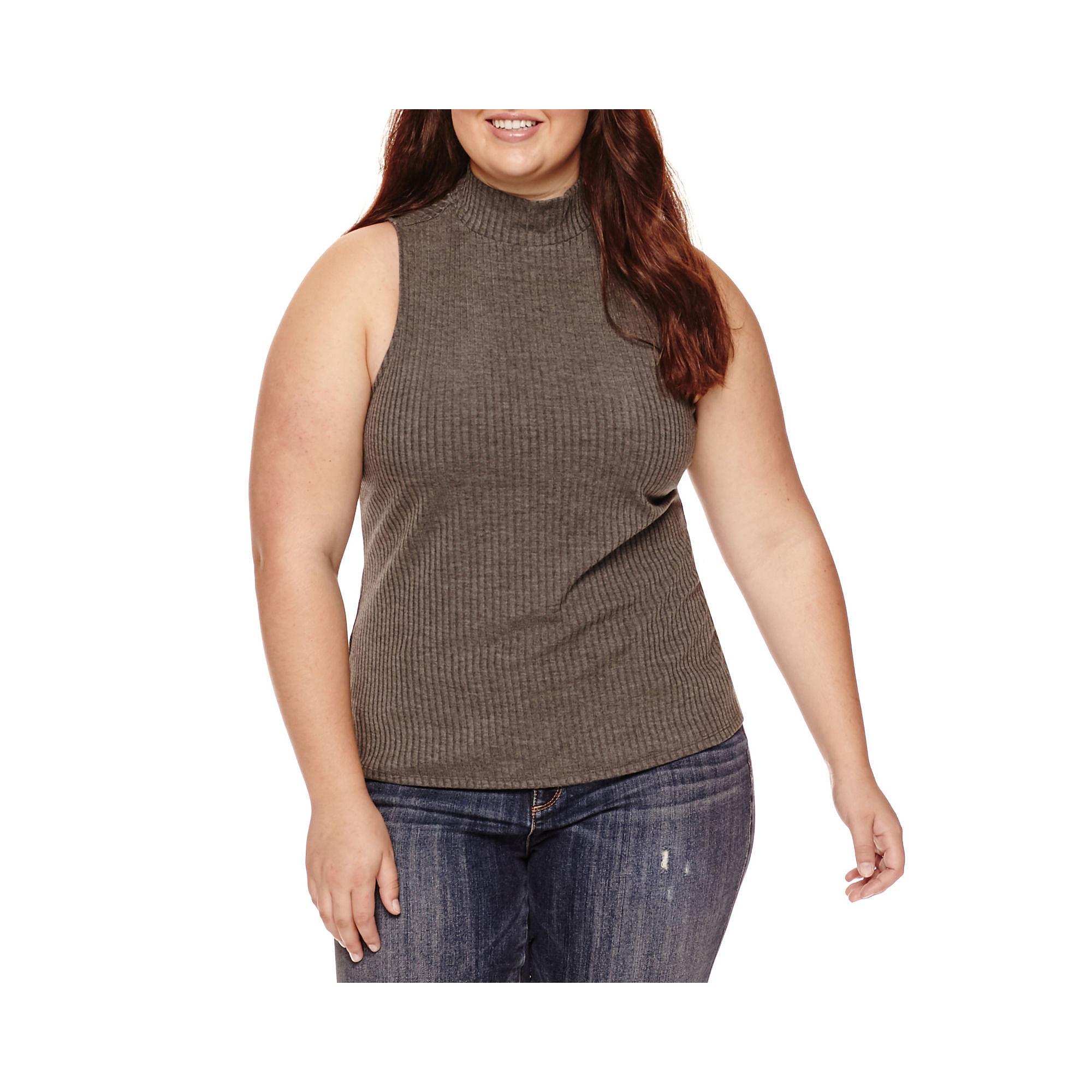 Arizona Ribbed Bodycon Tank Top - Juniors Plus plus size,  plus size fashion plus size appare