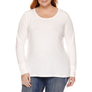 jcpenney.com | a.n.a® Long-Sleeve Essential Tee - Plus