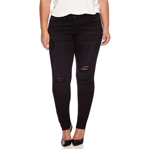 Boutique+ 5-Pocket Destructed Skinny Jeans - Plus