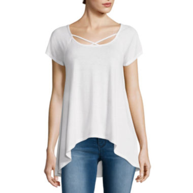 jcpenney.com | Almost Famous Short-Sleeve Crochet-Back Swing Tee