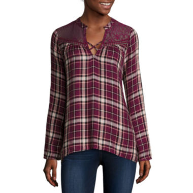 jcpenney.com | Self Esteem® Long-Sleeve Plaid Lace-Yoke Flyaway Shirt - Juniors