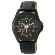 Armitron® Mens Black Leather Rose-Tone Watch